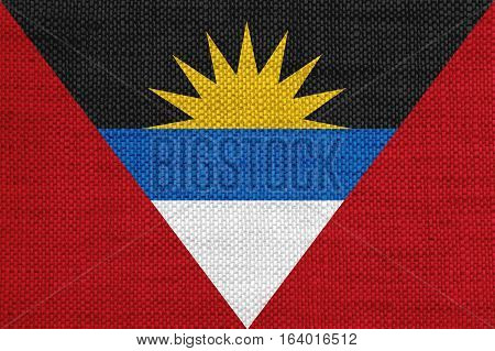 Flag Of Antigua And Barbuda On Old Linen