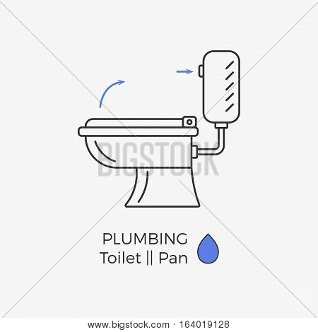 Toilet vector icon with schematic instructional arrows. WC linear icon.