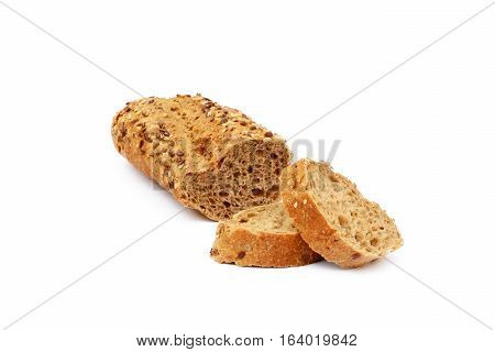 Sliced fresh baguette isolated on white background