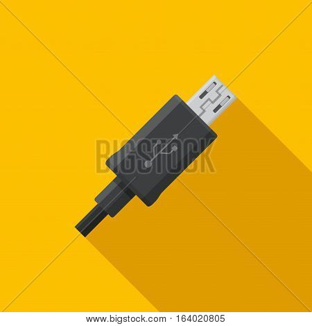 Black micro USB cable cord icon on yellow background in flat style