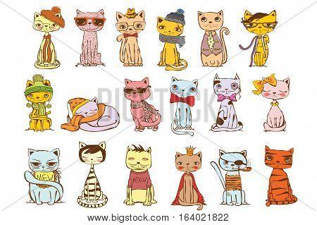 Vector illustration of Colour cat set for greeting card design, t-shirt print, inspiration poster