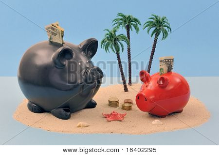 Offshore banking concept with pig and money on island