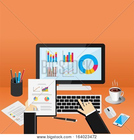 Business working on computer. Business analyst concept.
