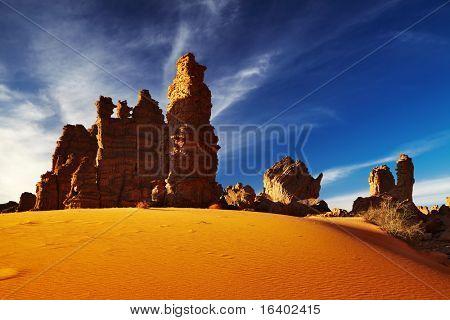 Bizarre cliffs in Sahara Desert, Tassili N'Ajjer, Algeria