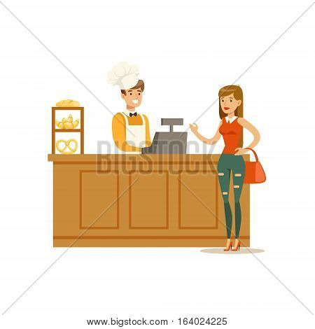 Woman Buying Pastry From The Baker In The Bakery Shop Ordering At The Counter Vector Illustration. Happy Cartoon Character At The Cafe Flat Drawing From Coffee And Pastry Shop Series.