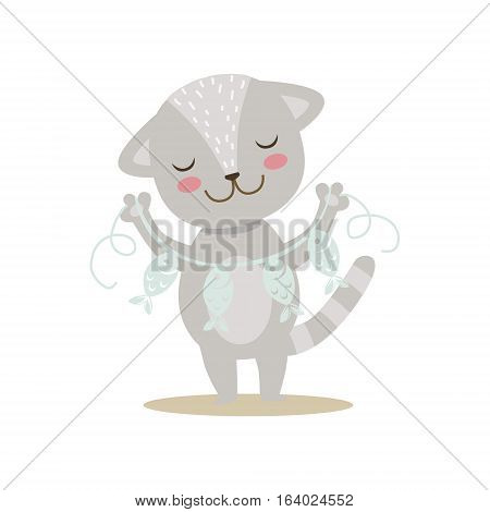 Grey Little Girly Cute Kitten With Paper Garland On String, Cartoon Pet Character Life Situation Illustration. Cat Humanized Baby Animal And Its Activity Emoji Flat Vector Drawing