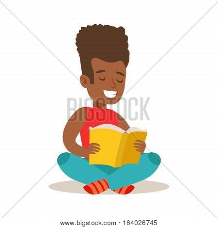 Boy With Afro Sitting With Legs Crossed On The Floor Who Loves To Read, Illustration With Kid Enjoying Reading An Open Book. Teenager Bookworm Cartoon Vector Character Smiling And Enjoying His Pastime And Hobby.