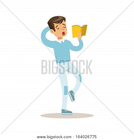 Boy In Blue Sweater Who Loves To Read, Illustration With Kid Enjoying Reading An Open Book. Teenager Bookworm Cartoon Vector Character Smiling And Enjoying His Pastime And Hobby.