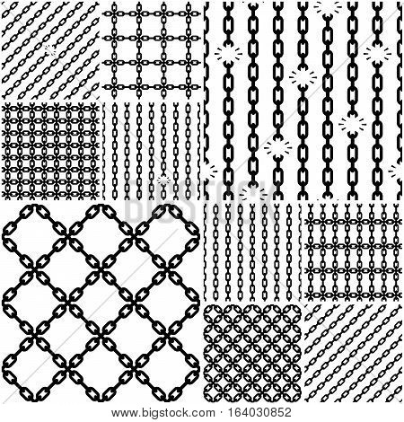 Bundle of seamless chain patterns with links attached and broken. Vector illustration.