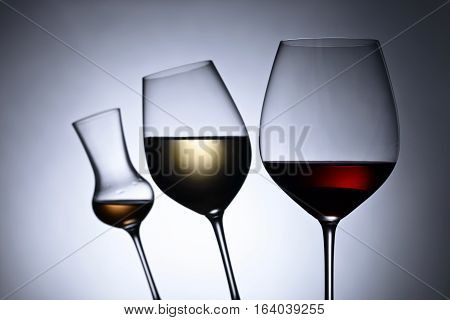 Glasses With Red And White Wine