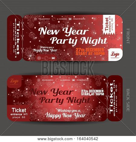 Vector New Year party night ticket on the dark red gradient background with snowflakes pattern and snowfall.