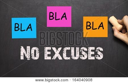 Bla Bla Bla - No Excuses - Workout Motivation, On A Blackboard