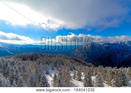 view of the Northern Japan Alps. In autumn from Cable car station Shinhotaka Ropeway Takayama Gifu Japan