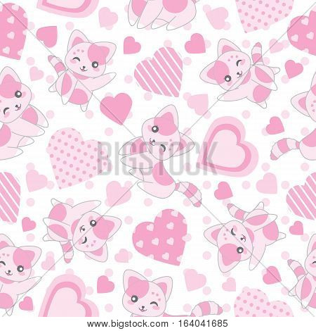 Seamless background of Valentine's day illustration with cute pink cat and love shape on polka dot background suitable for Valentine's wallpaper, scrap paper, and postcard