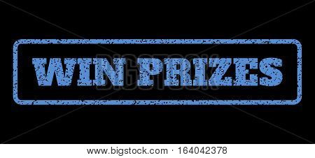 Blue rubber seal stamp with Win Prizes text. Vector message inside rounded rectangular banner. Grunge design and unclean texture for watermark labels. Horisontal emblem on a black background.