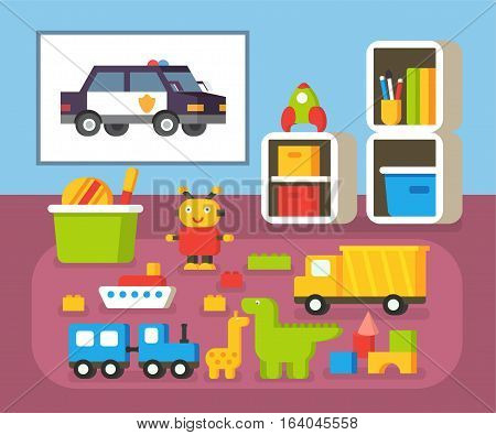 Boys room kindergarten. Nursery interioir. Flat design vector illustration.