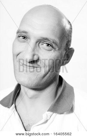 Portrait bald men happy smiles.
