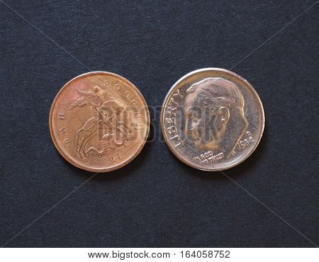 10 Russian Rubles Kopecks And 10 Usd Cents Coins