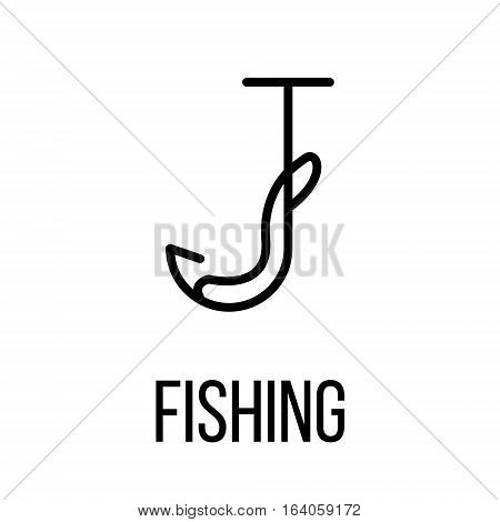 Fishing icon or logo in modern line style. High quality black outline pictogram for web site design and mobile apps. Vector illustration on a white background.