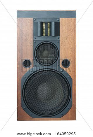 Big three ways Hi-Fi loud speaker system with black metal grills and solid wood finish isolated on white closeup. Vertical photo