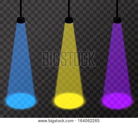 Three spotlights (purple, yellow, light blue) on transparent background, vector floodlights with bright spots on floor