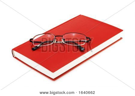 Book With Eyeglasses (Isolated On White)