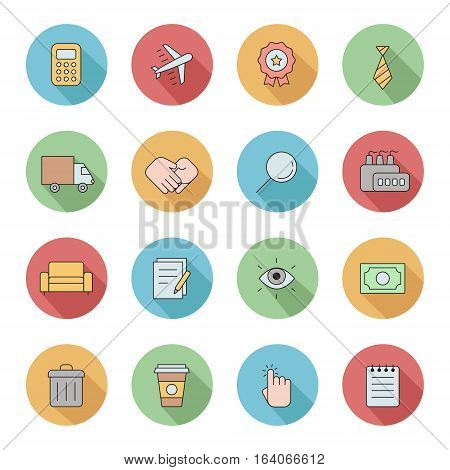 Outline business circle icons vector set. Clean and simple design. Part two.