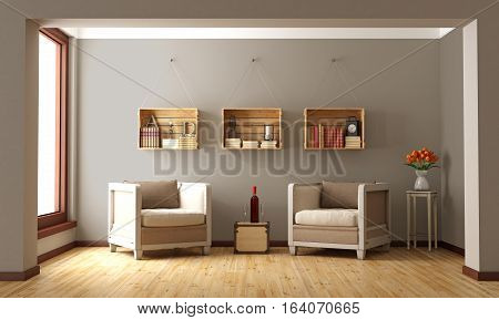Classic Interior With Two Armchair