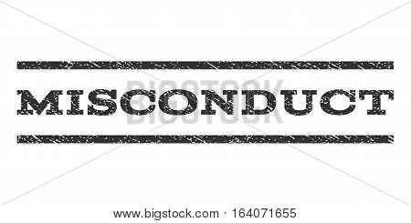 Misconduct watermark stamp. Text caption between horizontal parallel lines with grunge design style. Rubber seal gray stamp with dust texture. Vector ink imprint on a white background.