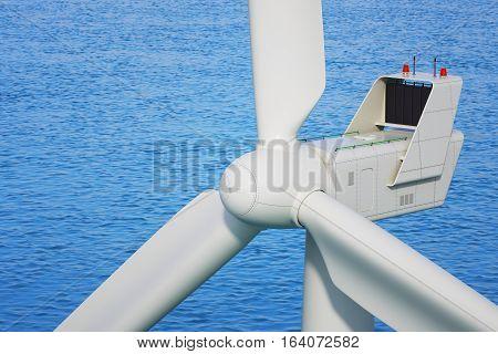 Industrial wind turbine close up in sea. 3d render