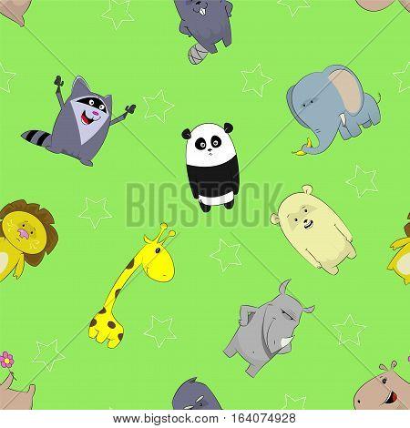 Seamless pattern with cute cartoon giraffe, panda, rhino, lion, beaver, elephant, bear, hippopotamus on green background. Vector image.