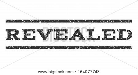 Revealed watermark stamp. Text caption between horizontal parallel lines with grunge design style. Rubber seal gray stamp with unclean texture. Vector ink imprint on a white background.