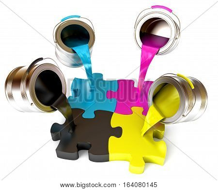 Paint fill a container in the form of a puzzle (CMYK Concept). Pouring paints of CMYK colors from its buckets. Isolated on white background. 3D illustration. 3D rendering