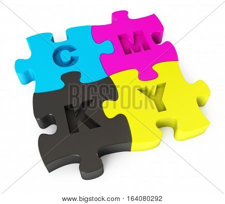 Cmyk puzzle. Isolated on white background. 3D illustration. 3D rendering