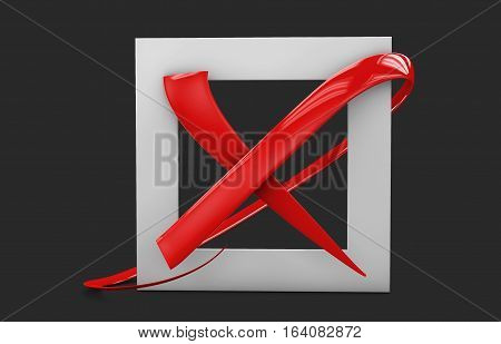 3D Illustratio Of Large Flat Buttons: Red Crosses Mark. Square, Hard And Rounded Corners. Isolated B