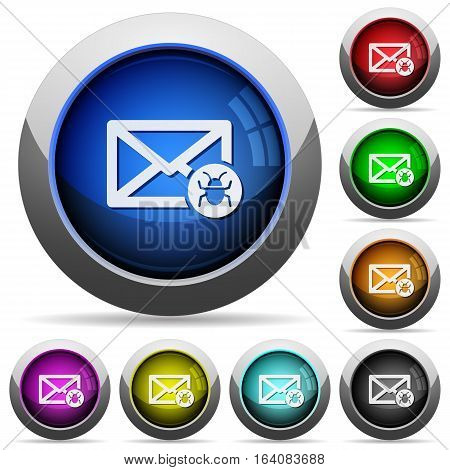 Spam mail icons in round glossy buttons with steel frames