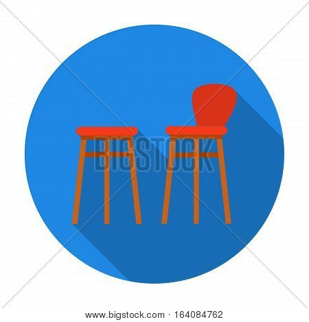 Bar stool icon in flat design isolated on white background. Pub symbol stock vector illustration.