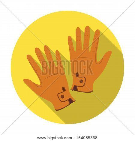 Jockey's gloves icon in flat design isolated on white background. Hippodrome and horse symbol stock vector illustration.