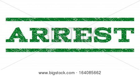 Arrest watermark stamp. Text tag between horizontal parallel lines with grunge design style. Rubber seal green stamp with dust texture. Vector ink imprint on a white background.