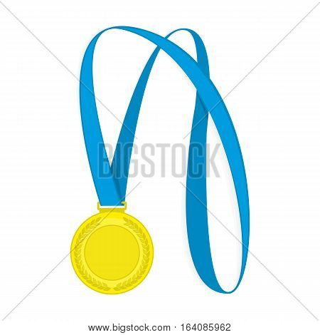 Gold medal with blue ribbon for first prize vector illustration. Medal of the winner isolated on white background.
