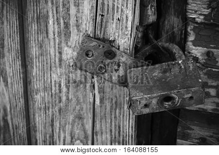 door lock old rusty background. black and white