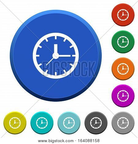Clock round color beveled buttons with smooth surfaces and flat white icons