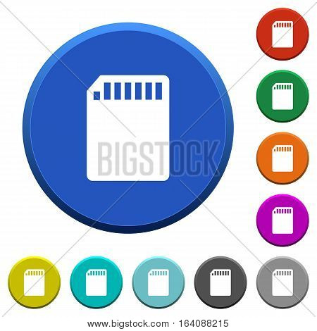 SD memory card round color beveled buttons with smooth surfaces and flat white icons