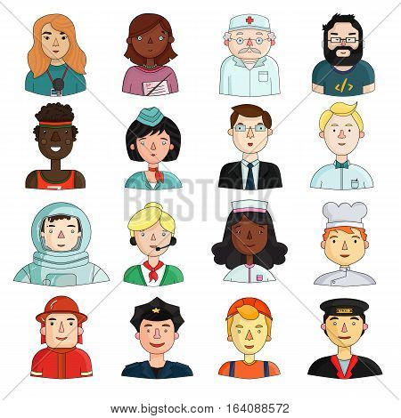 People of different profession set icons in cartoon style. Big collection of people of different profession vector symbol stock