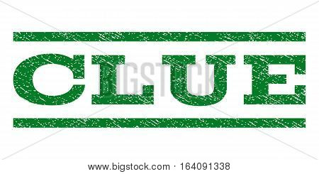 Clue watermark stamp. Text tag between horizontal parallel lines with grunge design style. Rubber seal green stamp with dirty texture. Vector ink imprint on a white background.
