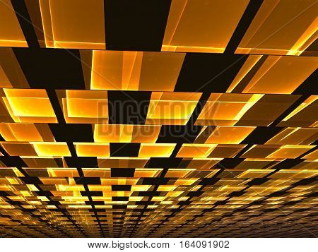 Ceiling tiles - abstract computer-generated image. Tecnology golden background - rectangles stretching to the horizon. For web design, covers, posters.
