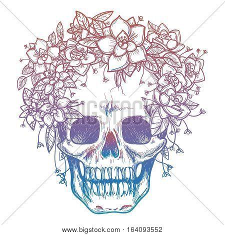 Colorfull skull and flower headdress isolated on white background. Vector illustration