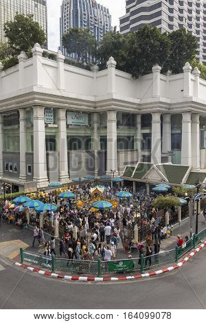 BANGKOKTHAILAND - DEC 31 : urban view of Erawan shrine at Ratchaprasong Junction while new year festival on december 31 2016 Thailand.