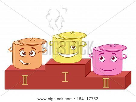 Cartoon Smileys, Kitchen Pans Standing on Sports Pedestal, Taking Prizes at The Cooking Competition. Vector