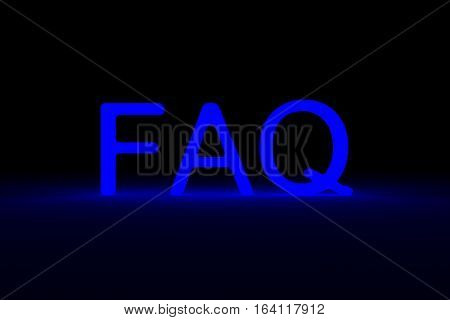FAQ presented in the form of a neon glow 3d illustration
